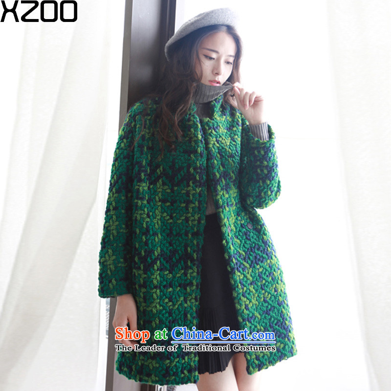 ?Gross coats women XZOO? Korean jacket cashmere windbreaker collar in the long winter 2015 new green?S