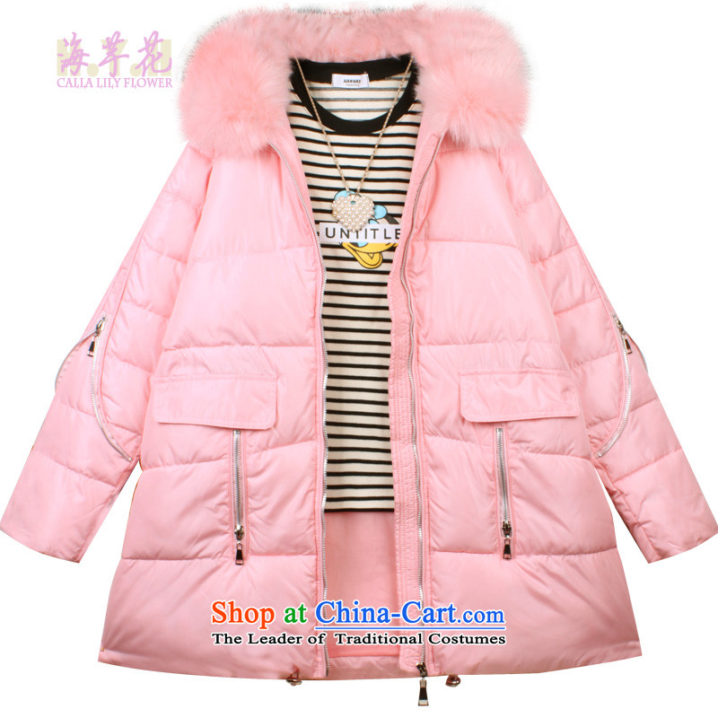 The sea route take the Korean words with cap A long, thick warm coat Zdm-c large commercial�L Powder