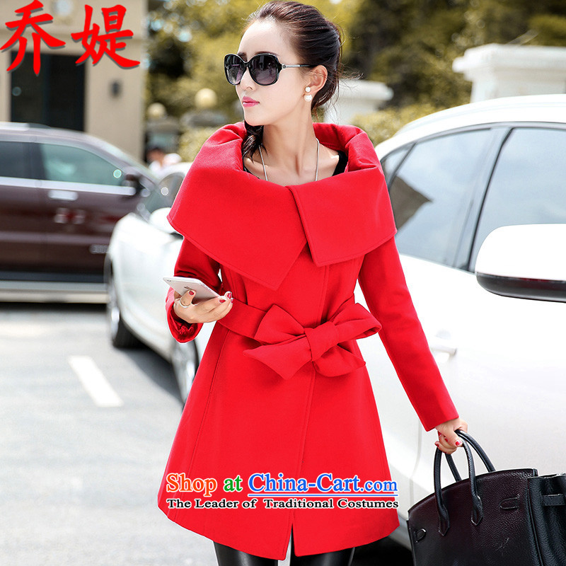 Joe customers by 2015 Fall/Winter Collections of new European and American Women's large-sided flannel strap a jacket in long strap leading double-coats RED M Gross?