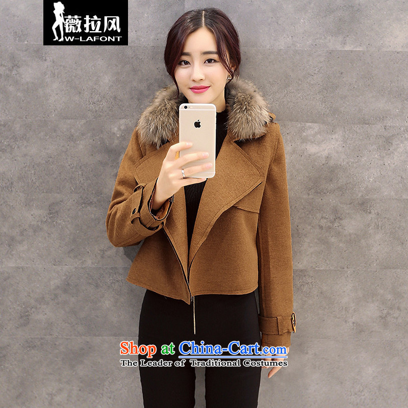 Vera wind fall 2015 gross coats Korean? loose knots a grain of detained video thin really gross lapel cardigan short)? sub-jacket woolen coat female winter?M