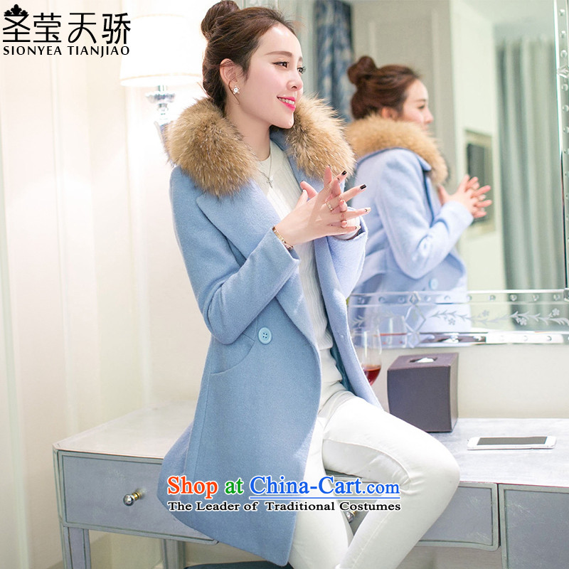 The holy day average 2015 Ying autumn and winter new gross jacket version won? Long Sau San a wool coat S514 LIGHT BLUE聽S