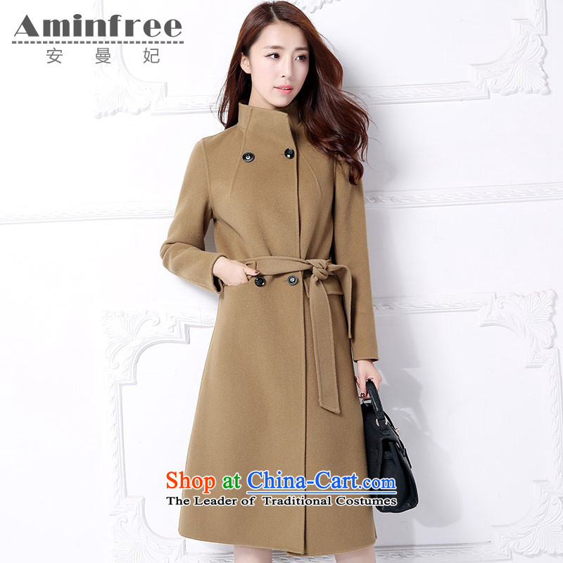 Amman Queen cashmere woolen coat girl in long 2015 new autumn and winter video thin cashmere gross Sau San? with waistband overcoats-聽L