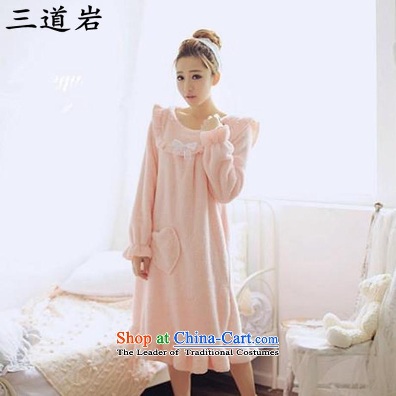 3 Doam autumn and winter 2015 large ladies casual relaxd casual long-sleeved billowy flounces Shu lint bathrobe燬6130燘ubblegum Pink Color�L