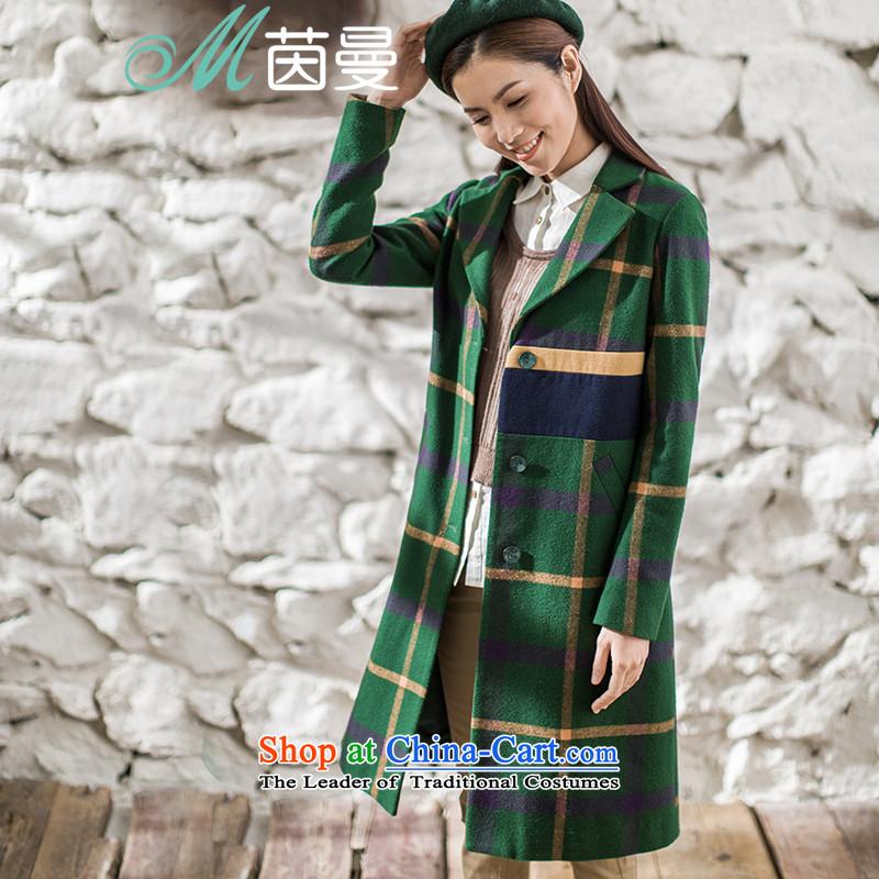 Athena Chu Cayman2015 winter clothing new arts latticed knocked the stitching long coats)?? (8543210082- flower coats emerald-M