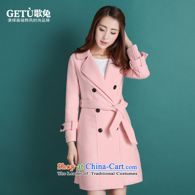 Song rabbit hair girl in the jacket? Long Sau San double-female Korean small incense wind wool a wool coat pink燬