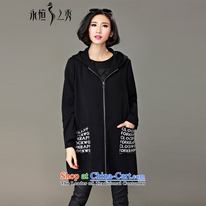 The Eternal Soo-To increase the number of female jackets for winter 2015 new products thick mm sister Korean Ms. leisure autumn and winter thick, Hin thin, 200 catties black jacket聽4XL
