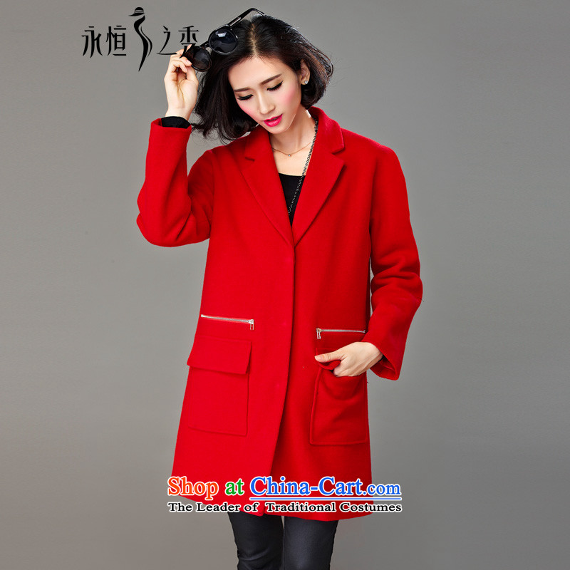 The Eternal Soo-to increase women's code gross? 2015 winter coats thick MM sister autumn and winter in Korean long thick, Hin thin 2 catties red jacket Ms. 4XL