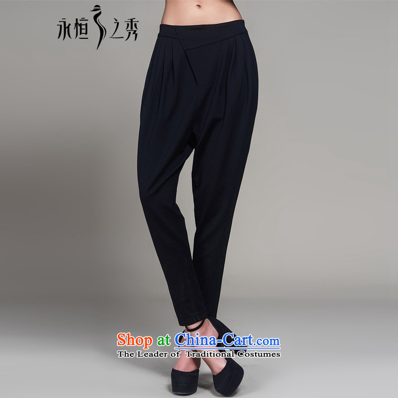 The Eternal-soo to xl female Harlan pants 2015 Autumn new products thick mm thick people in Europe and America relaxd sister video thin autumn_ Leisure long black pants castor 4XL