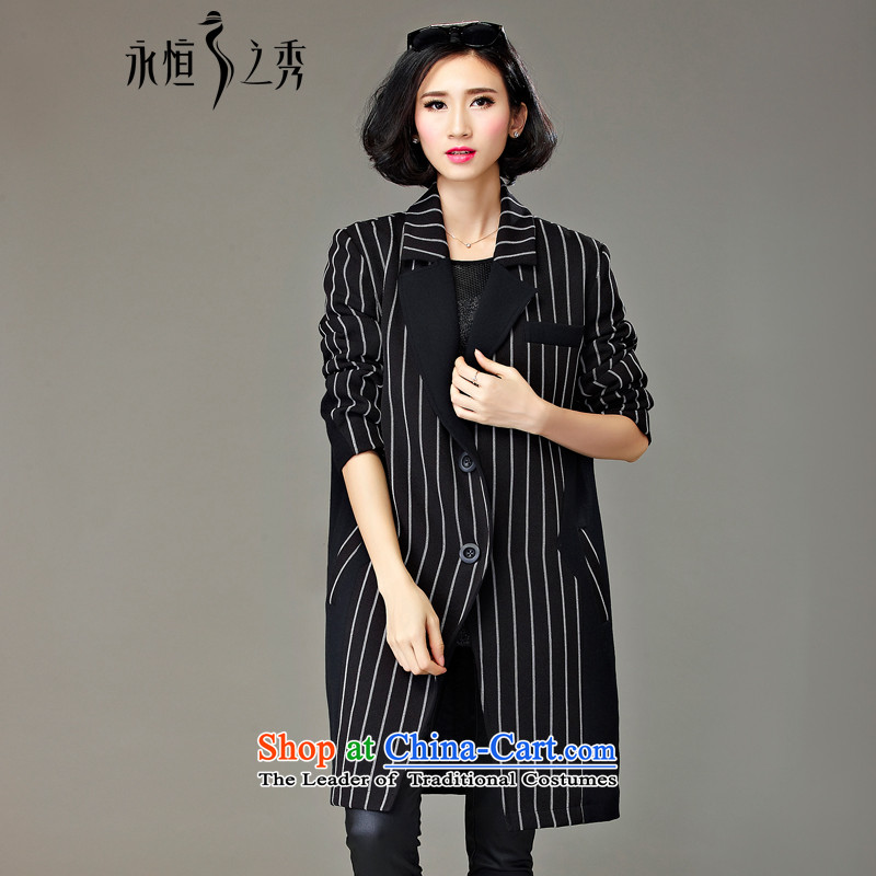 The Eternal Soo-To increase the number of female jackets winter 2015 new product expertise mm thick people fall_winter sister video in thin long suit 200 catties black and white stripes jacket, color?2XL