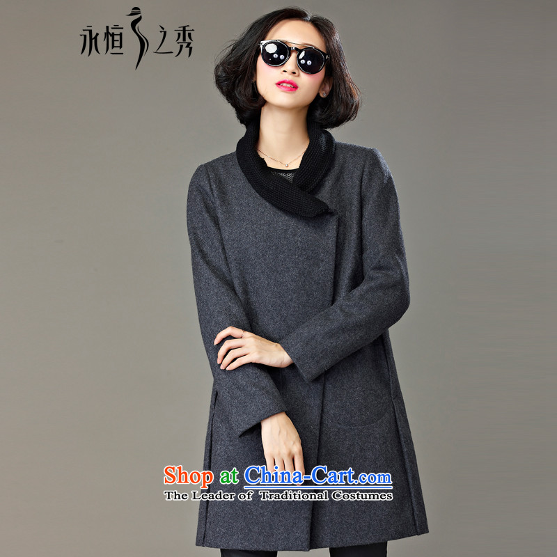 The Eternal Soo-to increase women's code gross? 2015 winter coats of new products on the Korean version of SISTER mm thick, Hin thin, long coats of Ms. gray jacket??4XL