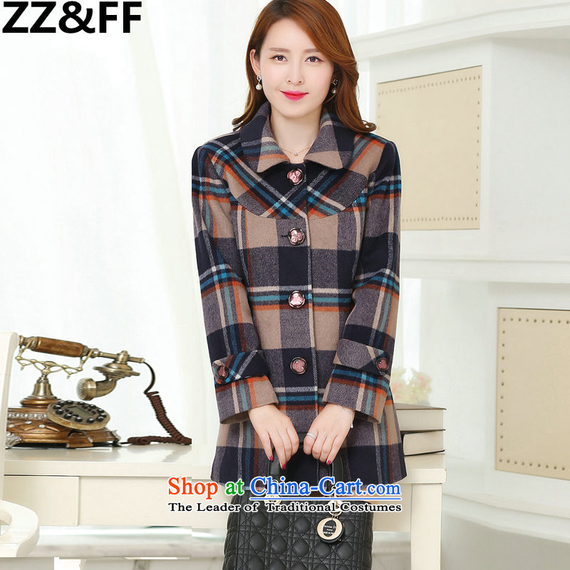 The new winter 2015 Zz_ff Korean girl who decorated stylish graphics thin latticed gross? overcoat?706?Blue-violet?XL