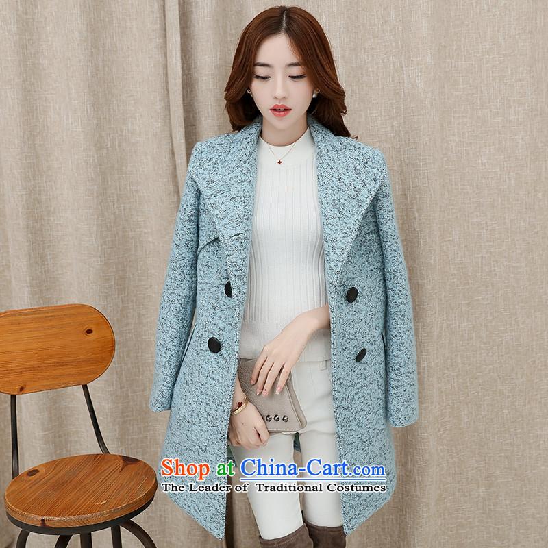 燣oad the autumn 2015 has sin new Korean citizenry video thin stylish and simple gross coats female pale blue?�   L