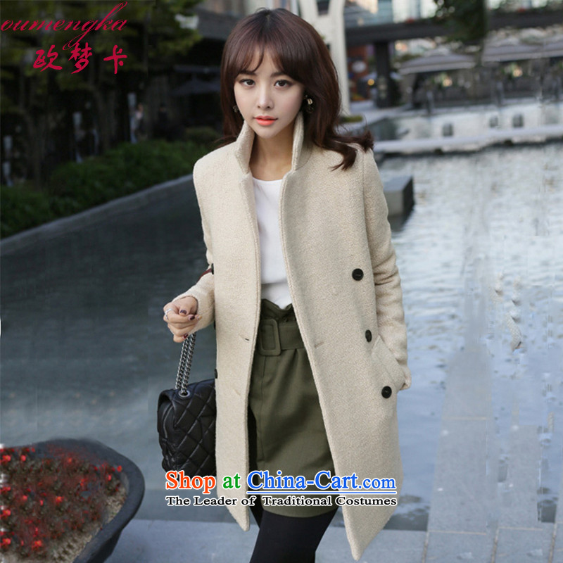 Visit Card gross coats female autumn and winter? 2015 Women's jacket Korean Sau San large thin in the video long wool cashmere overcoat m White燣