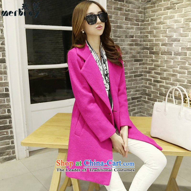 In 2015 the new Korean hip version?   in gross jacket long large a wool coat girl in redM 4515th