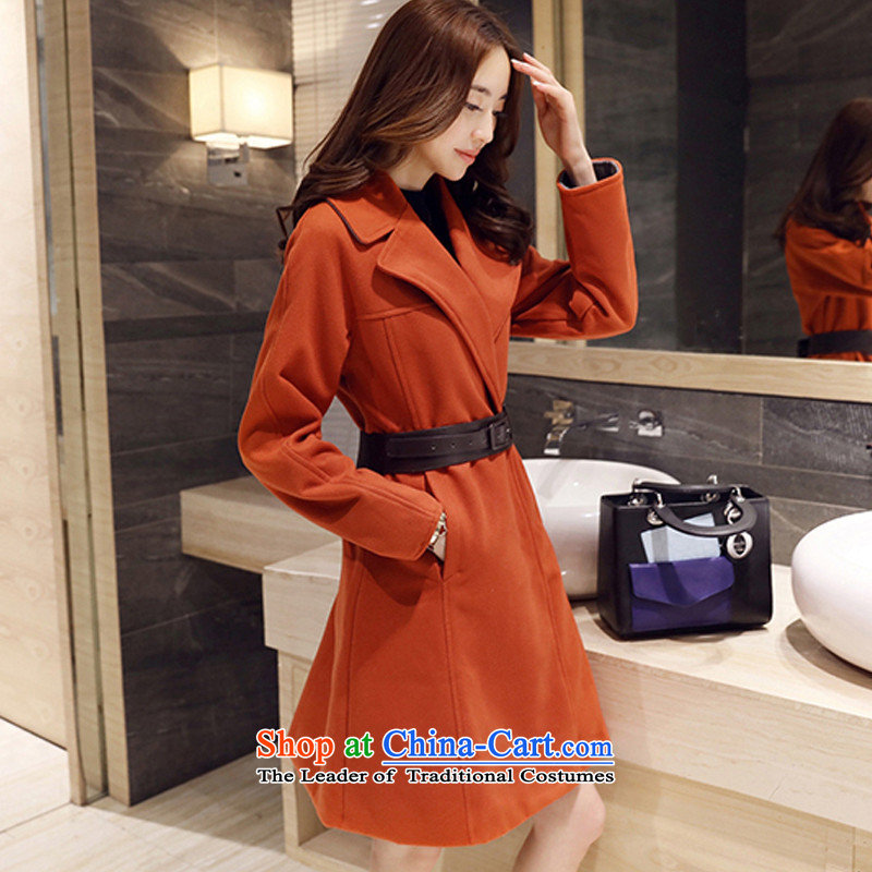 In the long coats_? thick wool a stylish coat Tangerine Orange燬