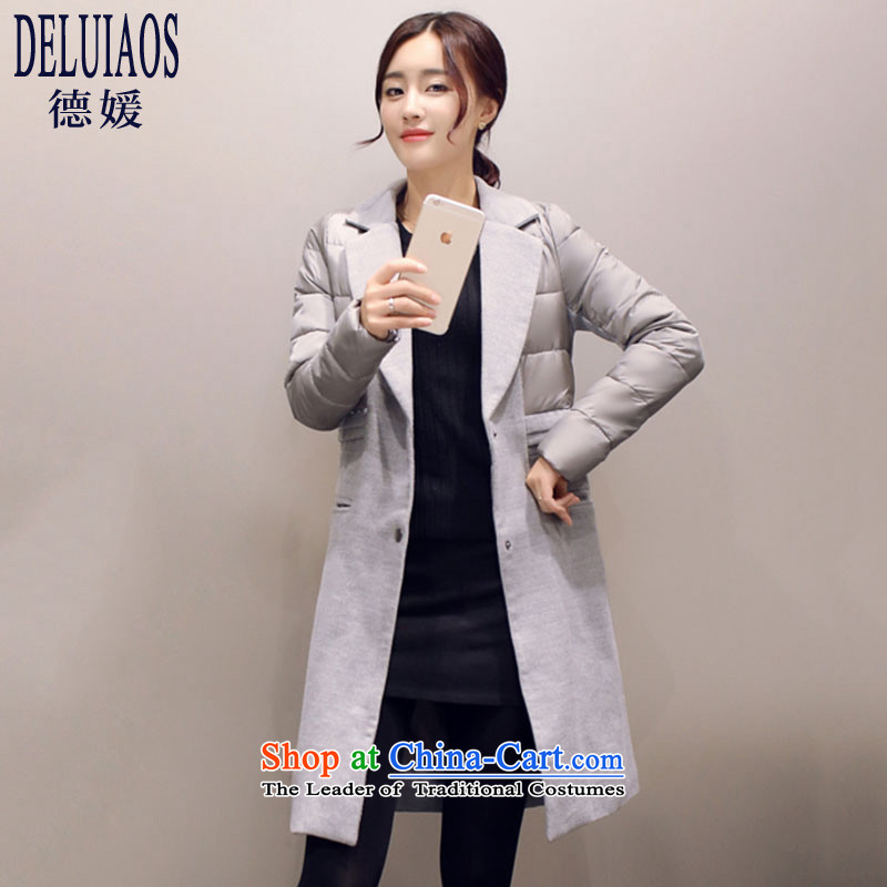 De-yuan by 2015 Fall/Winter Collections in the new Korean long thick stitching gross? coats female Sau San video thin temperament D143 jacket sub picture Connie color L