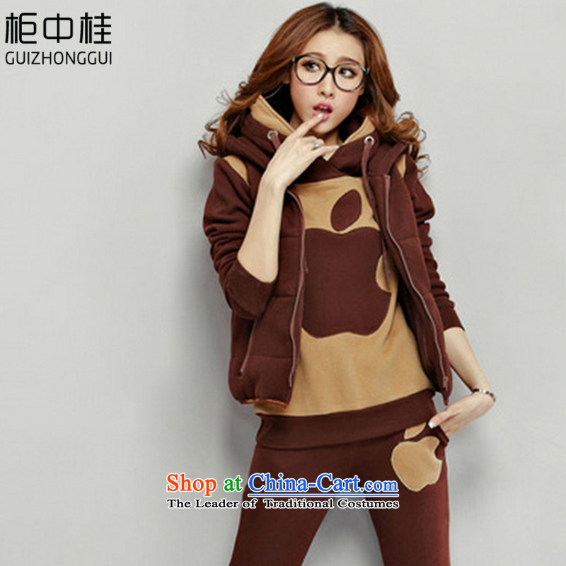Cabinet Kwai 2015 Winter Jackets sweater girl autumn and winter thick kit leisure movement with cap load women lint-free sweater three piece Brown M