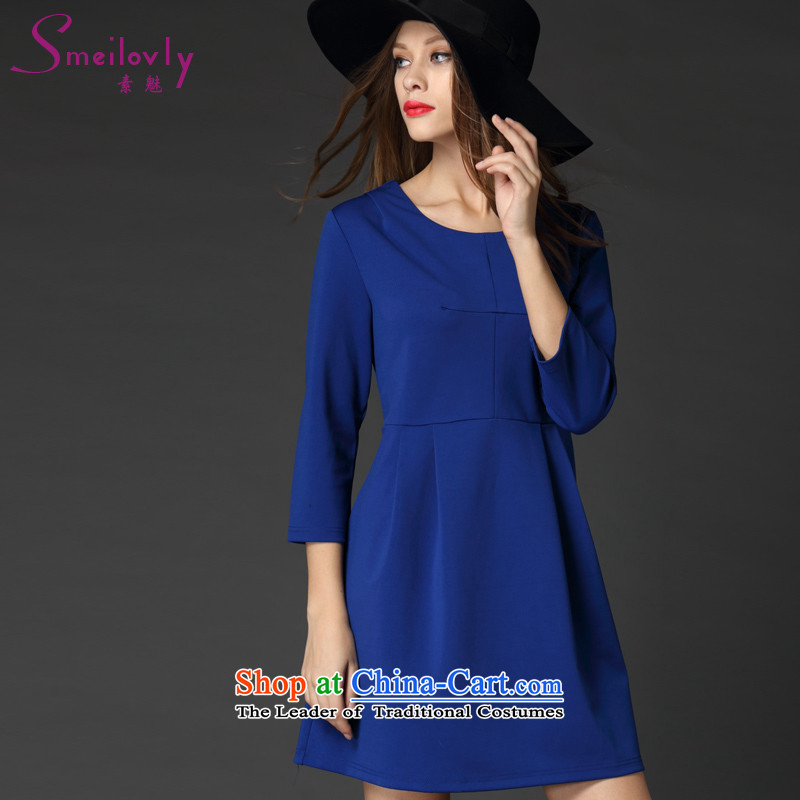 The Director of the women's code to increase the load new autumn 2015 Western minimalist solid color stitching graphics thin 7 cuff dresses�36爈arge blue 5XL code around 922.747 200