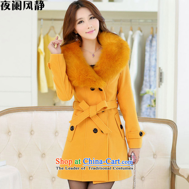 Night table�15 autumn and winter wind new coats jacket in cultivating the so long coats female S151 gross? Yellow燲L