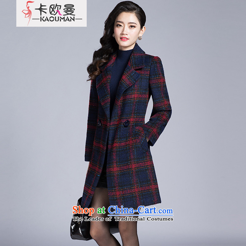 In2015, the Cayman autumn and winter in new long lapel a grain Gross deduction jacket upscale elegance? wild Plaid Foutune of graphics and red T-shirt thin wool S L