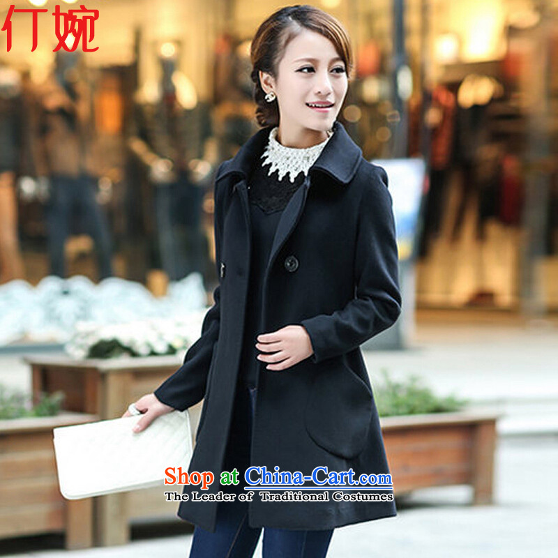 Ding Yuen 2015 Fall_Winter Collections Korean version of thin hair? large female coats gross wz01 Ms. jacket? black XXL