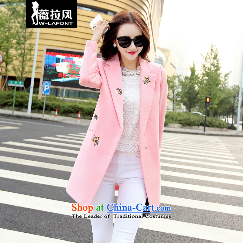 Vera wind 2015 autumn and winter new women won a deduction of Sau San edition loose larger gross girls jacket? long hair? windbreaker female pink燣