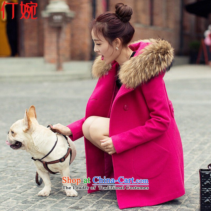 The suspension of Yuen Chau New_ 2015 Korean long hair in Sau San coats of female jacket? RED?M