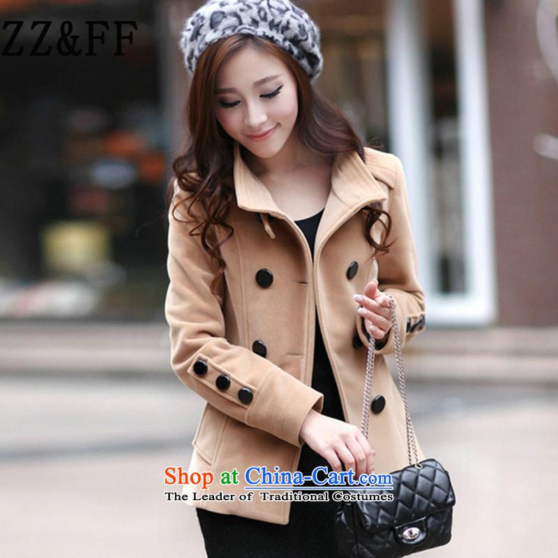 The autumn 2015 new Zz_ff Korean Sau San double-coats female short hair? jacket, sweater and color燣
