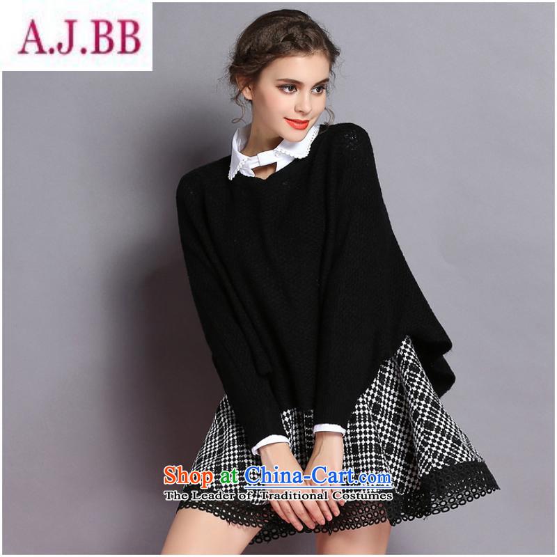 Dan divas _L1814 2015 autumn and winter new women's shirt stitching gross woolen sweater ground latticed? two kits dresses black聽L