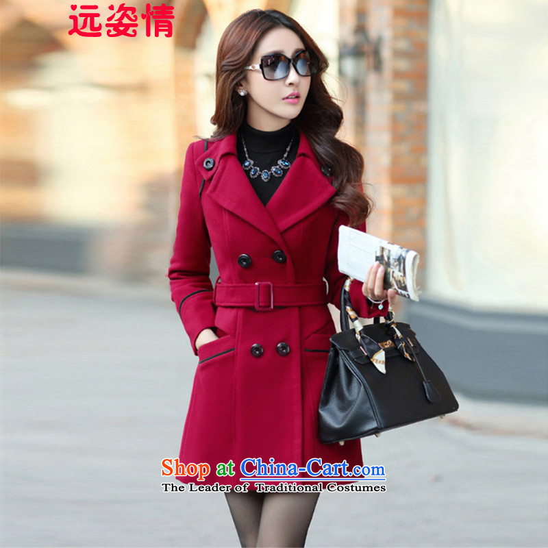 Gigi Lai of far gross? female 2015 Autumn coat for women Fall_Winter Collections new Korean long hair in Sau San? 8858 wine red jacket XXL
