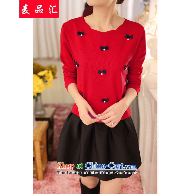 Mr Hui 2015 to No. xl female thick mm autumn and winter package loose video thin nail pearl shirt thick sister short skirt two kits 6853 red t-shirt + black skirt 4XL