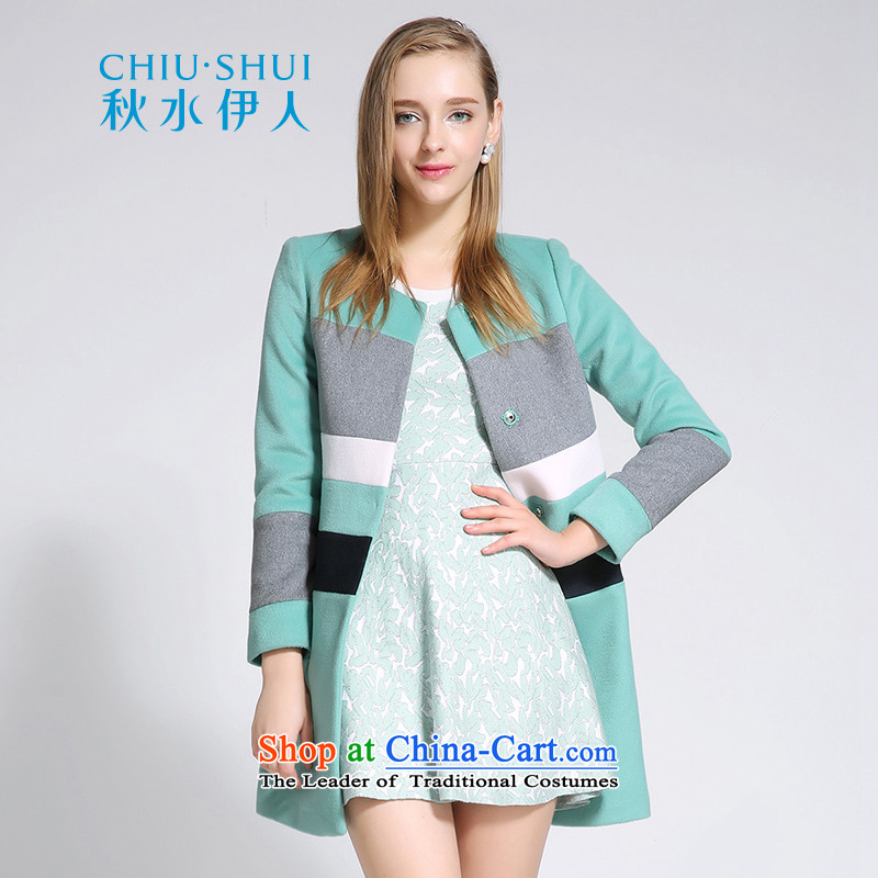 Chaplain who winter clothing new women's stylish round-neck collar knocked color stitching wild leisure warm wool gross jacket, gray and green 170/92A/XL?
