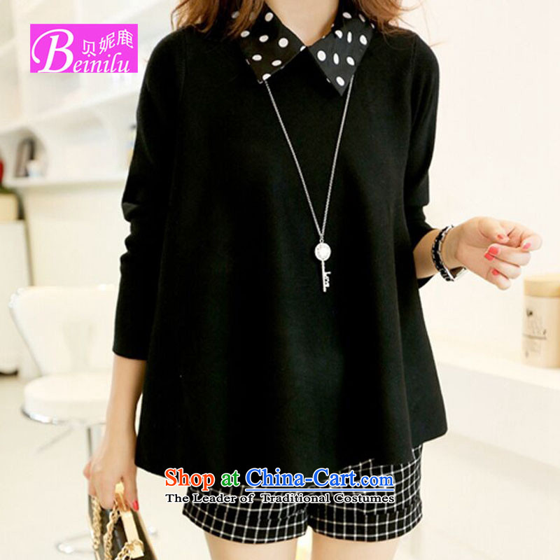 Connie Deer 2015 Autumn Addis Ababa with new to increase women's code thick mm long-sleeved shirt, forming the new SISTER Korean thick black large Knitted Shirt XXXL code
