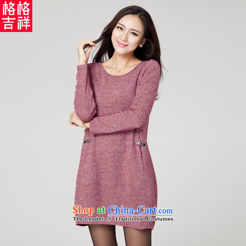 The interpolator auspicious for larger women 2015 Fall/Winter Collections new thick mm thin to increase video stylish and simple temperament knitted dresses K038 long-sleeved red3XL