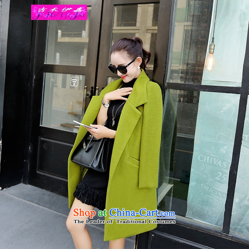Gil Wo Ika wool coat women 2015? New autumn and winter in long loose video thin a wool coat Korean jacket coat? simple fashion Wild Green XL