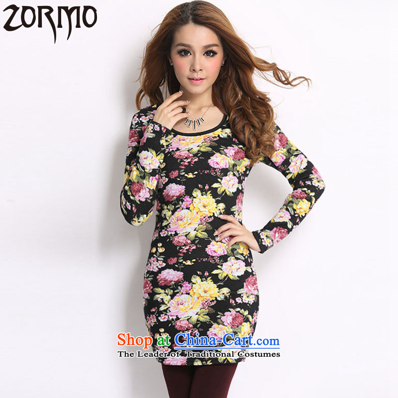 Zormo 2015 autumn and winter to stamp forming the xl shirt, long-mm thick_ lint-free thick thermal underwear聽5XL peony flowers