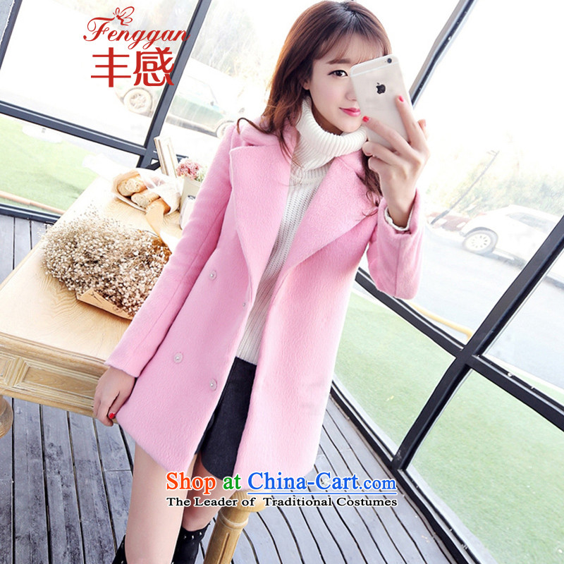 Feng sense of coats female lapel gross? 2015 autumn and winter coats the new Korean version of long-pink long-sleeved cocoon gross flows of coat? Thick Pink . S .