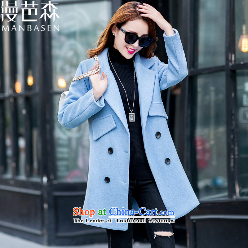 Diffuse and sum?2015 autumn and winter new women's stylish girl Won? coats video graphics thin double-jacket in gross? long_? For Winter Blue?M terminal
