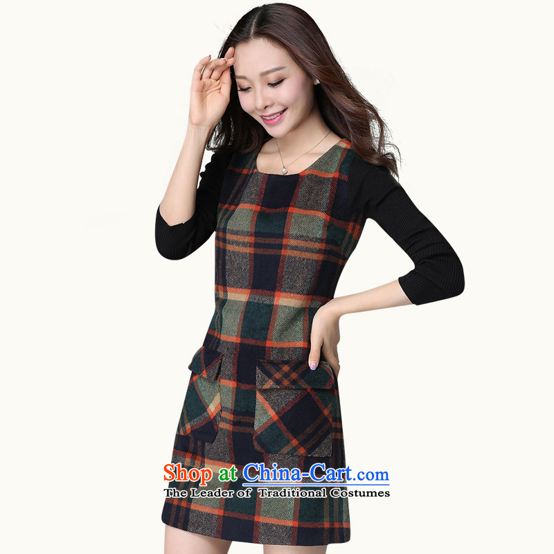 C.o.d. thick mm2015 autumn boxed version won a trendy new gross? latticed xl dresses larger female Korean knitting cuff 3XL Emerald