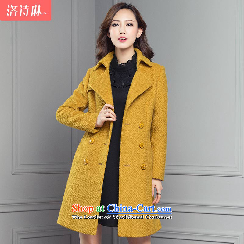 The poem Lin 2015 LUXLEAD winter clothing new product for connecting a long-sleeved double-style, long hair? coats yellow?L