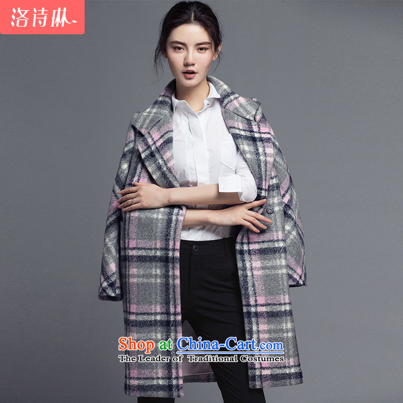 The poem Lin?2015 LUXLEAD winter clothing new products small collar double-day system in a compartment long coats of gray powder grid??L