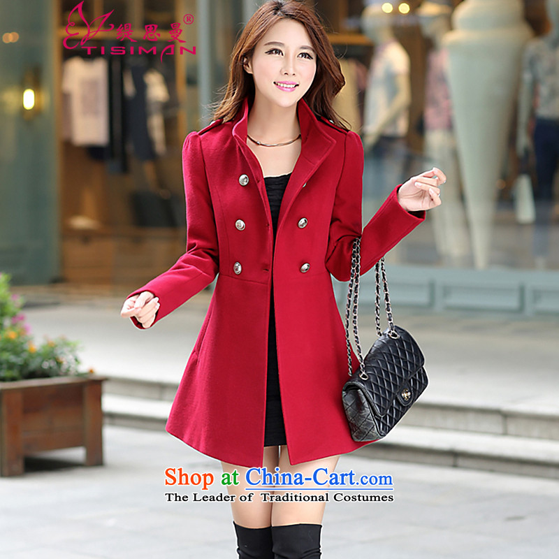 In 2015, a new women's autumn and winter-jacket Korean gross?   in large thin graphics long a wool coat red L