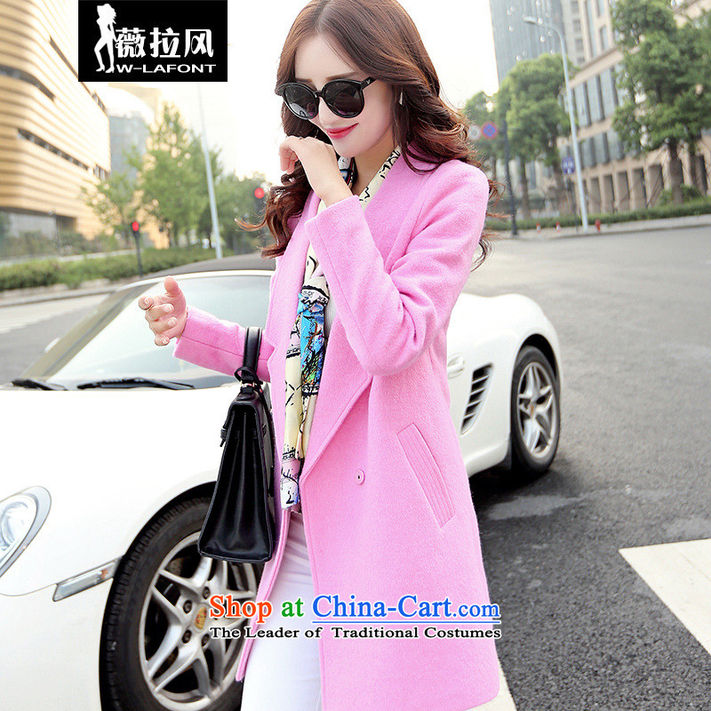 Vera wind 2015 autumn and winter new Korean single row detained simply Sau San long coats in long-sleeved gross jacket girl in the toner?XL