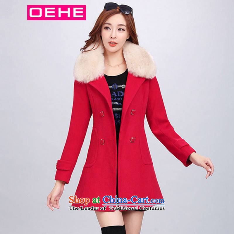 Oehe 2015 autumn and winter new Korean version in the long jacket, Sau San stylish girl video thin lapel long-sleeved red cloak聽L gross?