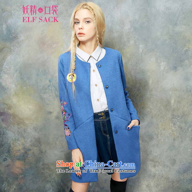 The pockets of witch Miss Mak?2015 new winter clothing stylish Western embroidery long coats of _?1532692? female?crayons Blue?M