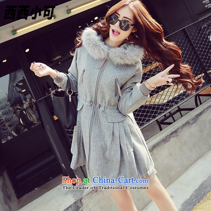 West small爊ew 2015 Fall_Winter Collections in long jacket female Sau San coats female爓t00180 gross? 牋M Gray