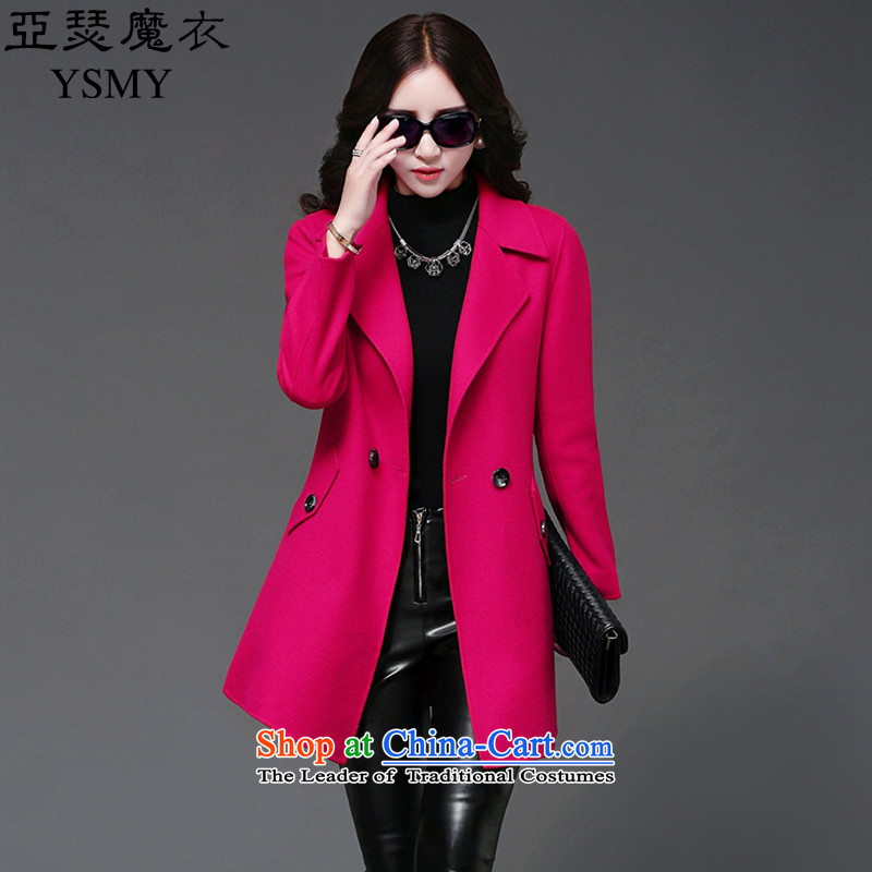Arthur magic yi 2015 Fall/Winter Collections new graphics thin hair? female Korean coats temperament in Sau San long hair a girl in the red jacket XXL