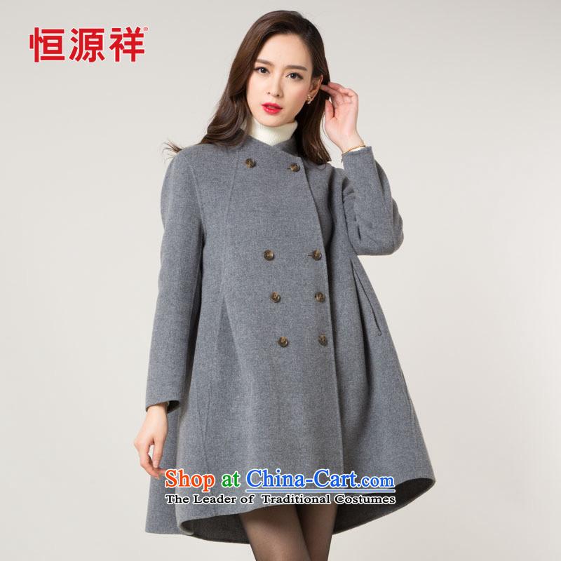 Hengyuan Cheung double-side sub woolen coat female2015 autumn and winter new cloak-jacket in gross? Long Korean women's coats gross?165? in gray