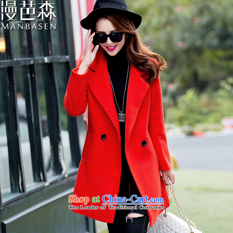 Diffuse and gross sum??2015 autumn and winter coats women for women new stylish Korean video thin hair so Sau San jacket in female long_? sub-orange?M