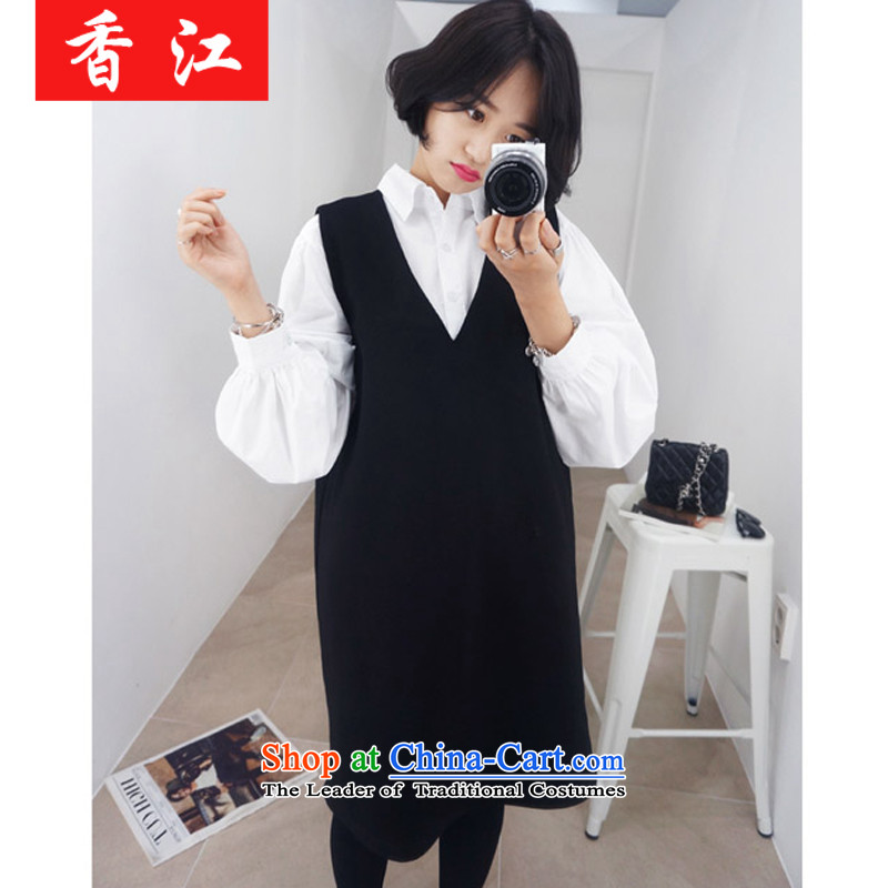 Xiang Jiang thick girls' graphics) to increase thin code women thick MM mount kit women fall thick sister loose vest shirt two kits?5216?Black + White shirt, a larger 4XL